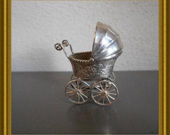 Vintage miniature silver pram