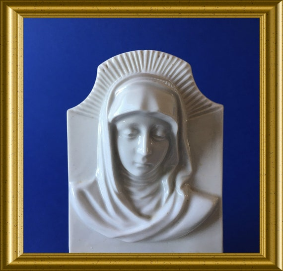 Large antique white porcelain holy water font: Virgin Mary