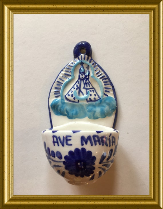 Vintage ceramic holy water font: Ave Maria