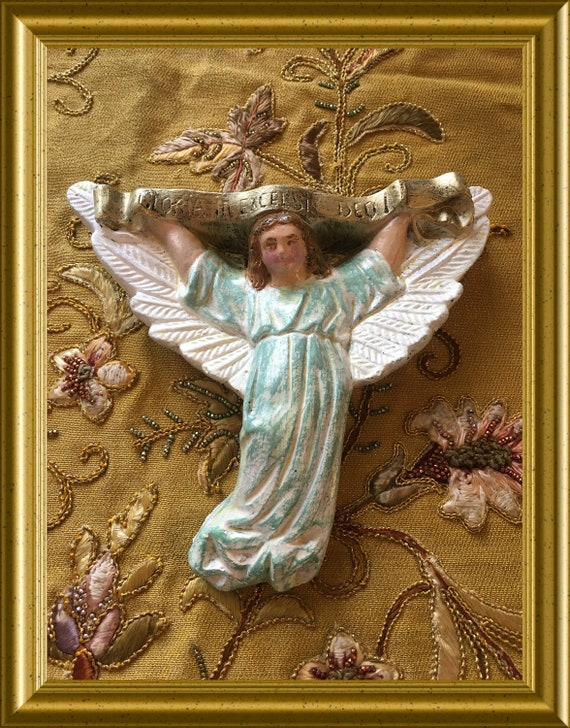 Vintage plaster Christmas angel, Gloria