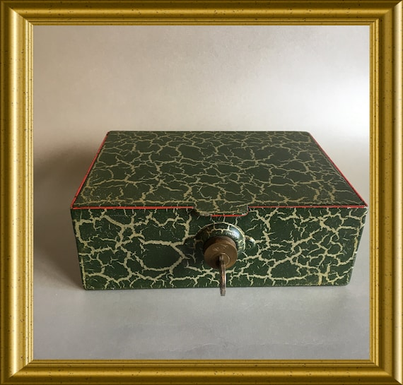 Vintage metal money box, money safe, cash box