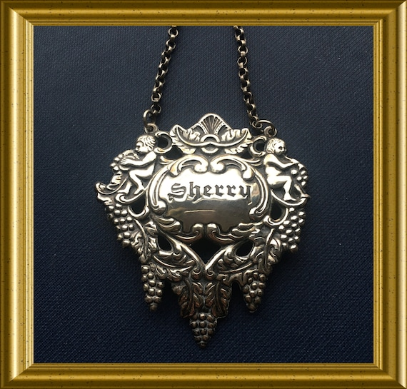 Vintage silver plated decanter label: Sherry
