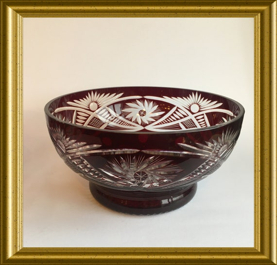 Red cut glass bowl