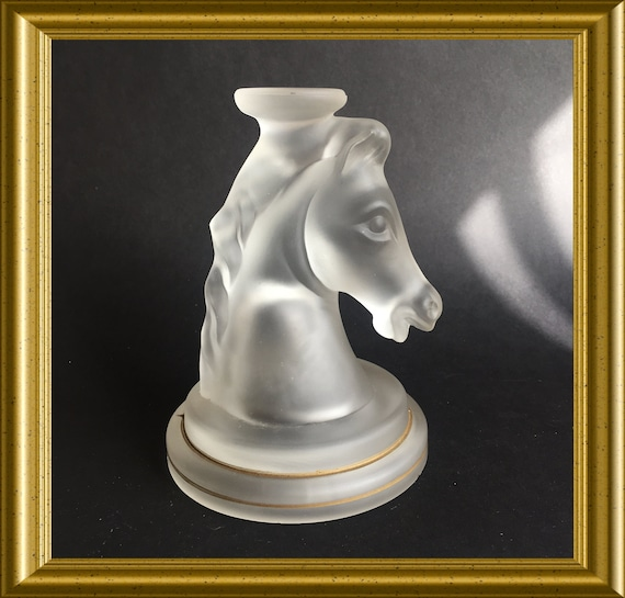 Vintage glass object: frosted glass horse head, large chess knight, paperweight