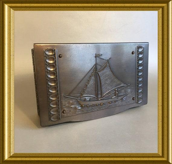 Art deco brass box, cigar box: sailing boat