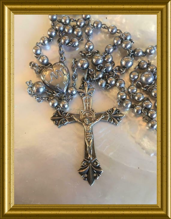 Vintage silver rosary