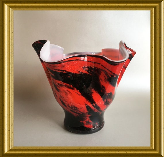 Glass design vase: red/ orange/ black