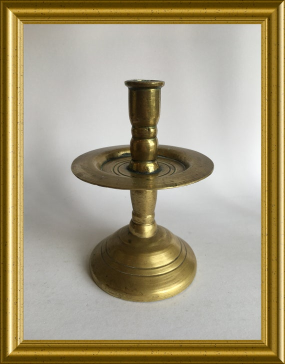 Antique brass candle holder, collar candlestick