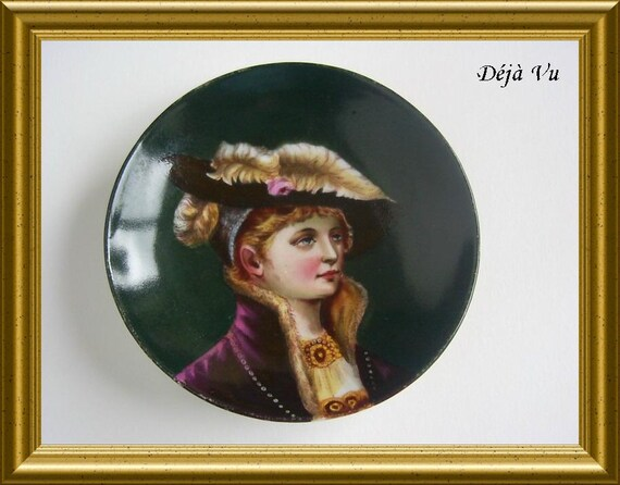 Lovely vintage handpainted portrait, porcelain plate