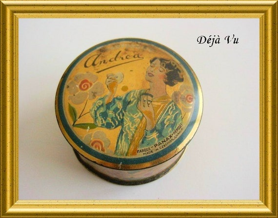 Antique tin / powder compact : Perfumery Andrea