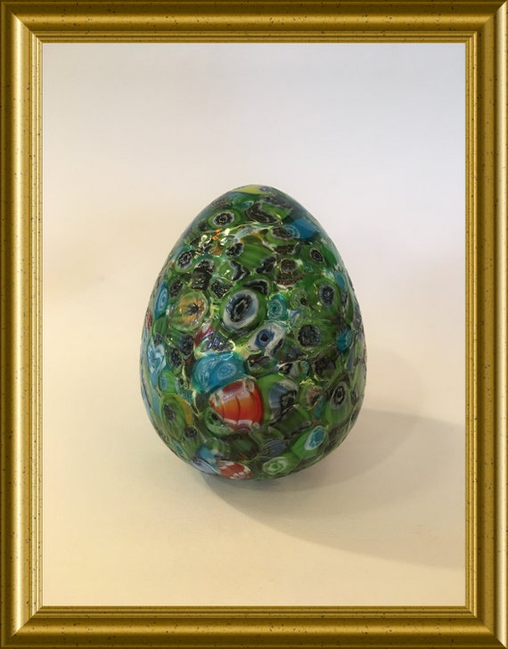 Vintage glass egg/ paperweight: millefiori