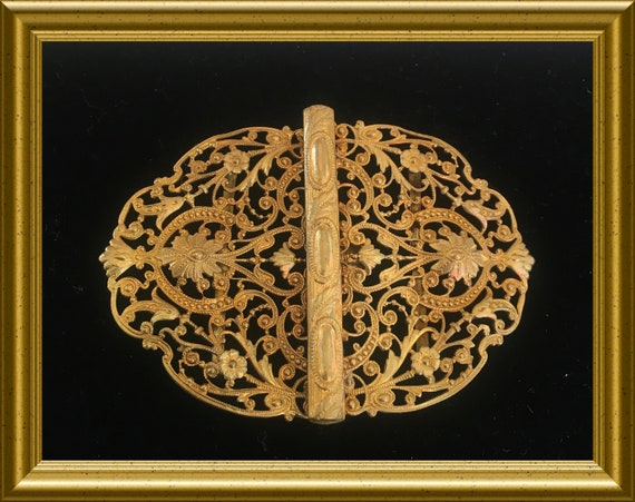 Vintage brass filigree belt buckle