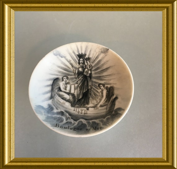 Antique small porcelain footed dish, 1840: virgin of Boulogne, boat, angels