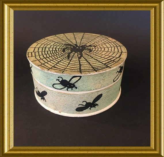Art deco cardboard round box: spider, web, fly, insects