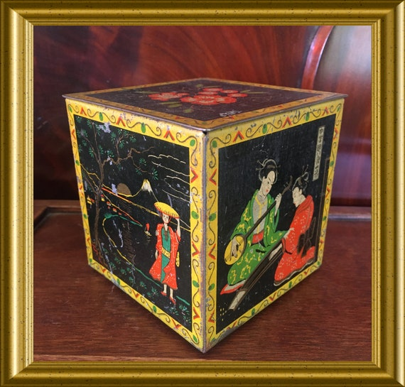 Vintage dutch tea container tin box: Kahrel's tea, japanese scenes
