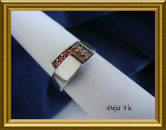 Beautiful silver ring, red / yellow