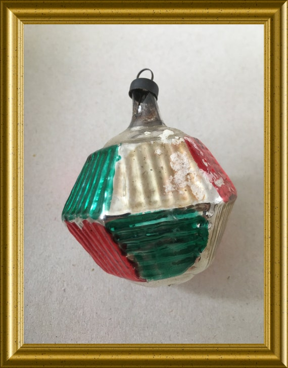 Vintage glass christmas ornament: red, green, silver