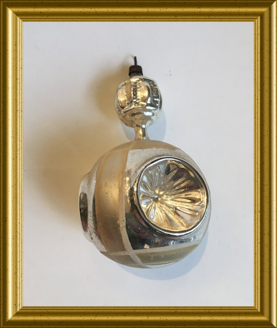 Antique glass Christmas ornament, indented reflectors
