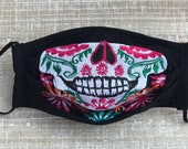 Handmade Face mask Reusable Face Mask Poplin filter Embroidered Skull Face Mask Día de Muertos Mexican Sugar Skull Halloween Face mask