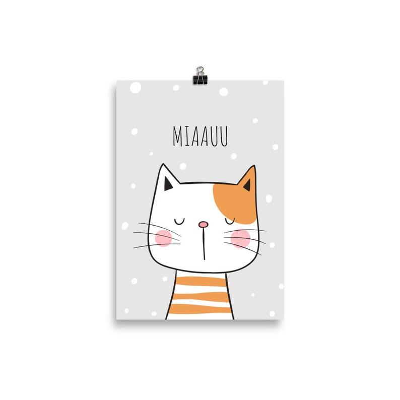 Happy Cat  Crumpy Miaauu Nursery Animal Prints Baby Decor image 0