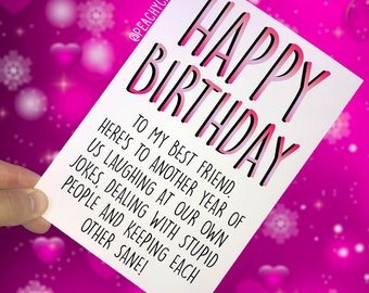 Best friend birthday card etsy funny best friend birthday cards greeting cards happy birthday laughing jokes banter best friend cards keeping each other sane jokes pc406 m4hsunfo