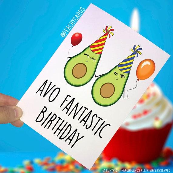 Funny Avocado Birthday Card Food Lover