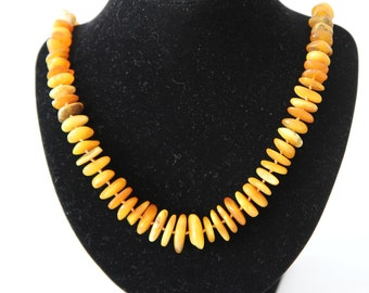 SALE Natural amber handmade round beads necklace healing amber chips # 106