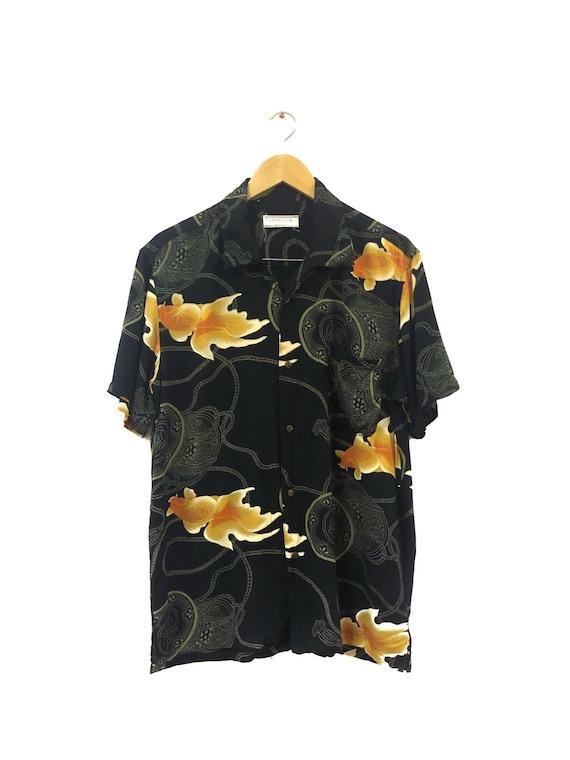 Vtg!!!Rare Grangesta Gold Fish Hawaii Shirt/Asian