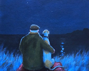 Sometimes we just sit and look at the moon.., Giclee print, greyhound, greyhound art, whippet, Original painting Steve Sanderson, art print