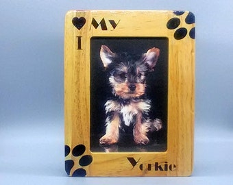 Yorkie Bichon Laser Engraved Wood Picture Frame