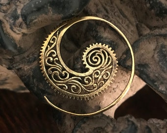 Ear Piercing Tribal Spiral - Brass