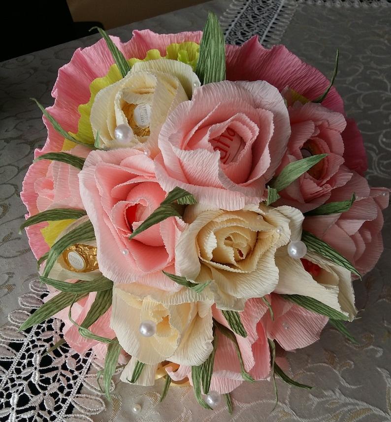 Crepe Paper Flowers Bouquets With Chocolate Bouquet With Crepe Flowers With Candies In Each Flower Wedding Anniversary Raffaello
