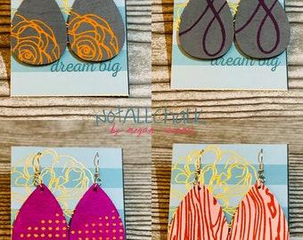 Hand painted wood teardrop earrings