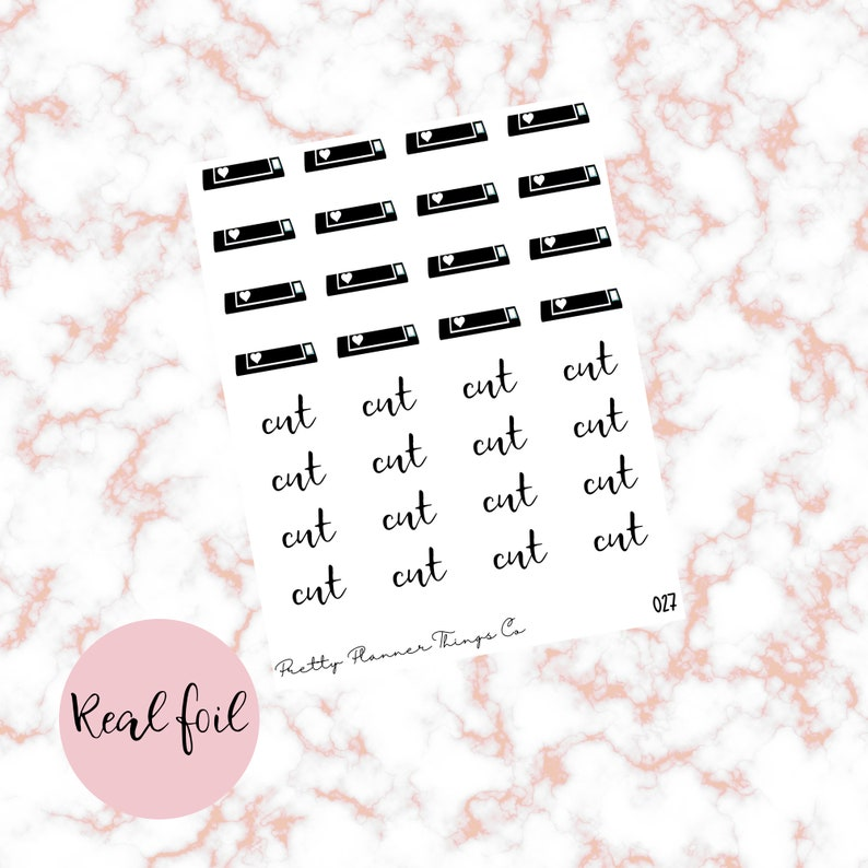 Planner stickers - Script/Icons - Cut, cutting machine, shop owner, girl  boss [FOIL]