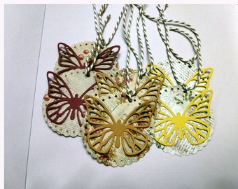 Scalloped Butterfly Tags Set of 6
