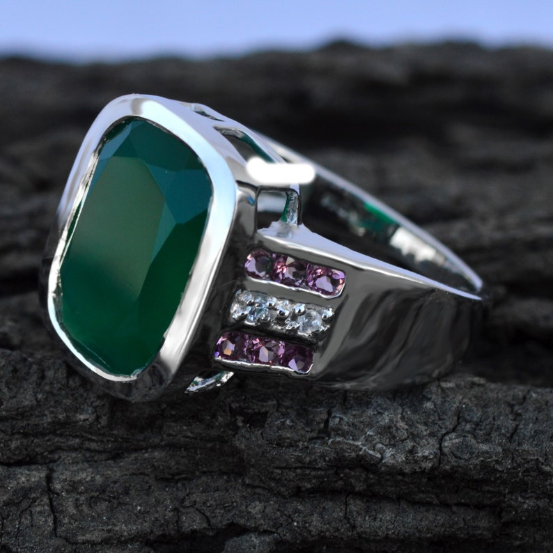 Gift For Her Natural Green Onyx Ring Natural Gemstone Free Shippi Solid 925 Silver Tarnish Free Anniversary Ring Pink Tourmaline Ring