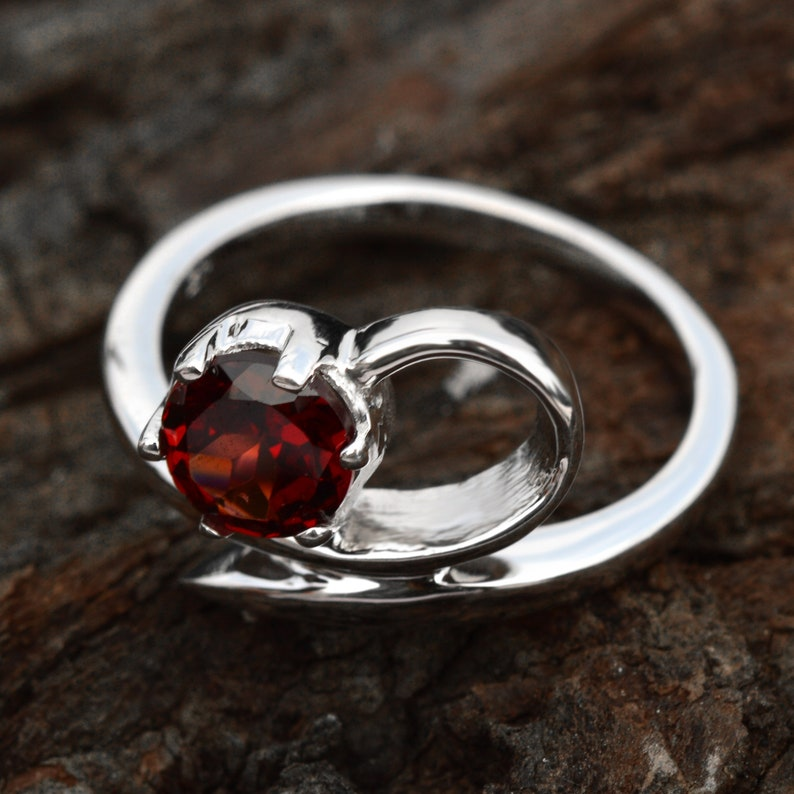 Solid 925 Silver Solitaire Ring Natural Red Garnet Ring Free Shipping Dainty Promise Ring Gift ForHer Natural Garnet Ring Tarnish Free