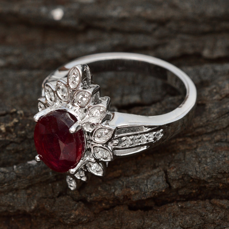 Glass Filled Ruby Ring Solid 925 Silver Halo Ring Gift For Her Natural Ruby Ring White Topaz Ring Ruby Wedding Ring Anniversary Ring