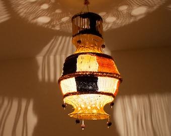 Yarn lampshade, crochet lamp shade, vintage lampshade, handmade lamp cover, macrame lamp, ceiling lamp shade (0005)