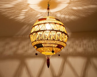 Ceiling lamp shade, crochet lamp shade, vintage lampshade, handmade lamp cover, yarn lampshade, macrame lamp,  (0007)