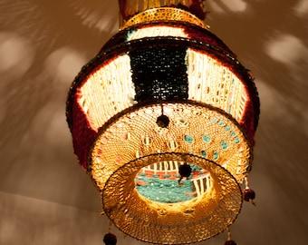 Crochet lamp shade, vintage lampshade, yarn lampshade, handmade lamp cover, macrame lamp, ceiling lamp shade (0004)