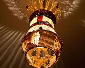Vintage lampshade, yarn lampshade, handmade lamp cover, crochet lamp, macrame lamp, ceiling lamp shade (0009)