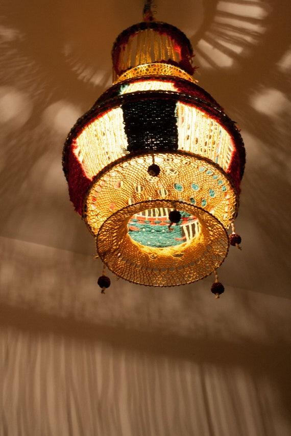 Haak Lamp Schaduw Vintage Lampenkap Garen Lampenkap Etsy
