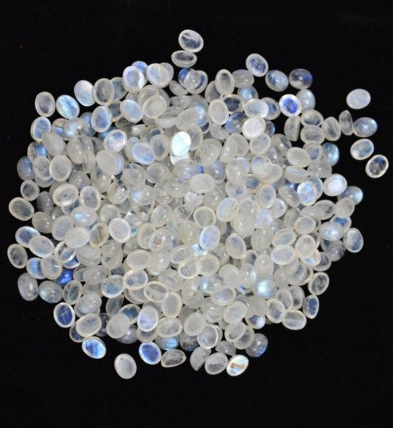 6 to 10 MM Oval Rainbow Moonstone Cabochons WHOLESALE Rainbow Flash Multi Fire Calibrated Moonstone Cabs Same Size 250 crt Loose Gemstone