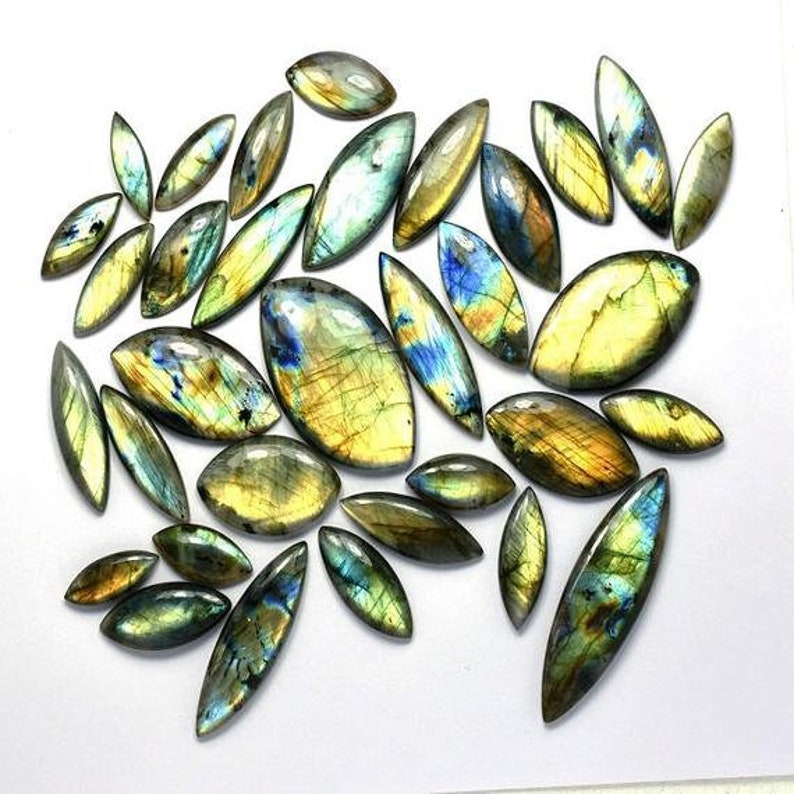Natural Multi Fire Labradorite Marquise Shape Smooth Cabochon  1525 Cts   wholesale Lot