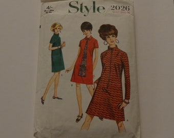 1967 Style 2026 Woman Bust Size 38 Sewing Pattern  One Piece Dress Checked & Complete