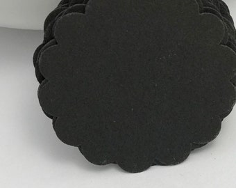 die cuts black scalloped circle die cuts, gift tag, scrapbooking, journal spot, cupcake topper papercrafts card making stationery