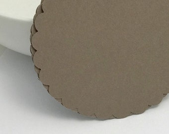 die cuts brown scalloped circle die cuts gift tag paper die cuts scrapbooking cupcake topper papercrafts card making stationery