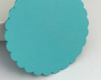 25 blue scalloped circle die cuts, gift tag, scrapbooking, journal spot, cupcake topper papercrafts card making stationery paper supplies