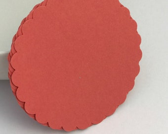 die cuts mauve scalloped circle die cuts gift tag paper die cuts scrapbooking cupcake topper papercrafts card making stationery